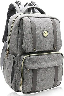 Baby Changing Bag Backpack with Changing Mat Maternity Nappy Bag Waterproof Grey