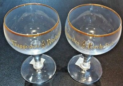NEW set of Two Trappist Trappistes Rochefort Belgian Beer Glass Chalice