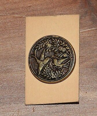 "One Vintage Round Button With 2 Birds - Approx. 7/8"" Dia."