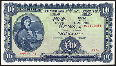 Central Bank of Ireland, Ten Pounds 1960. Date 5.3.60. Good EF/AU