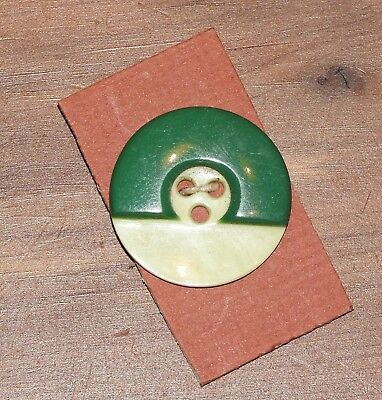 "One Vintage Round White Button With Green Layered Top - Approx. 1' 1/16"" Dia."