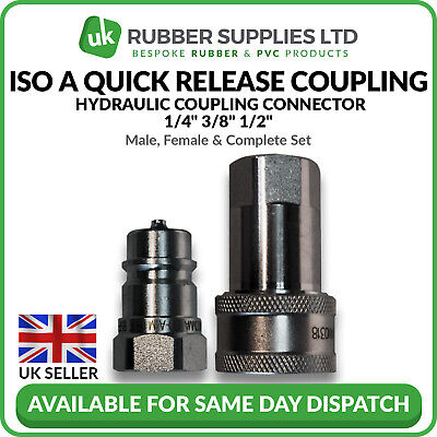 "Quick Release Fitting BSP ISO A Hydraulic Coupling Connector 1/4"" 3/8"" 1/2"""