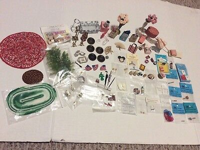 Large Lot Of 109 Vintage Doll House Minature Accessories Assortment
