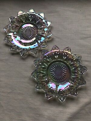 """Vintage Pair Of Federal Glass Plates, 6-1/2"""" Across, Beautiful, No Chips/Cracks"""
