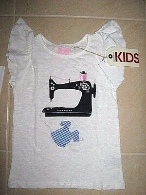 Size 4 Cotton On Kids girls Sewing Machine top applique Seamstress clothes BNWT