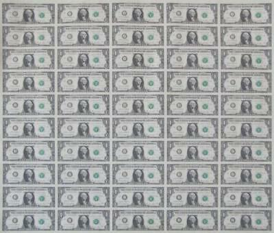 Uncut US Currency Sheet 50 x $1 Bill Dollar Federal Reserve Notes--Rare