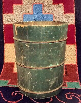 Antique Primitive Old Green Paint Banded Double Sided Dry Measure Bucket
