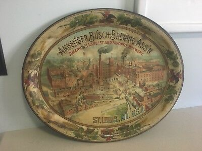 Vtg. 1890's Anheuser Busch Pre Prohibition Beer Tin Litho Tray St Louis Missouri