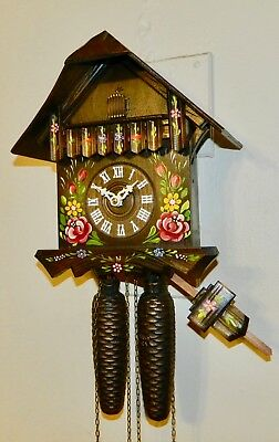 **** 8 Day  Hand Painted  Original Black Forest Germany Cuckoo Clock*****