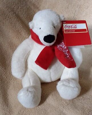 Vintage Licensed COCA COLA POLAR BEAR Holiday Plush Red Scarf Winter Holiday