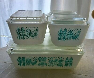 Vintage Pyrex 8-pc Refrigerator Dishes Amish Butterprint Aqua Turquoise