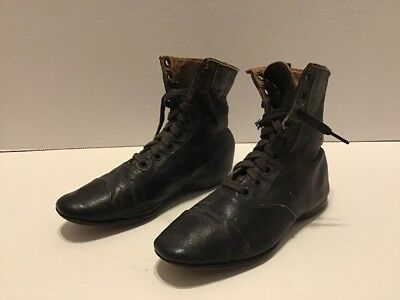 Antique Child's Leather Black High Top Shoes