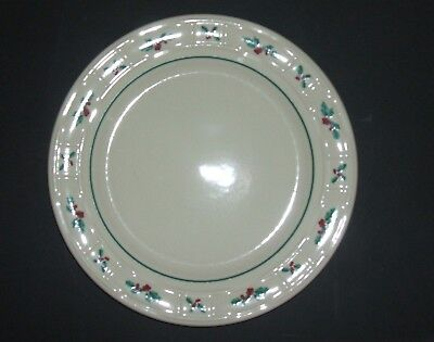 "Longaberger Set Of 4 Woven Traditional Holly 10""  Dinner Plates Made In Usa"