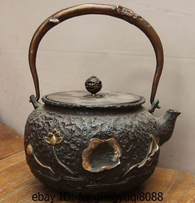 Archaic Japan Iron Silver Gilt Lotus Flower Pond Moon Flagon Kettle Wine Tea Pot