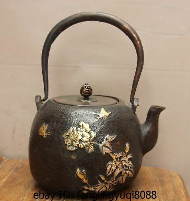Archaic Japan Iron Silver Gilt Peony Flower Butterfly Flagon Kettle Wine Tea Pot