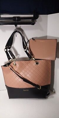 3767a5ff93 CALVIN KLEIN SONOMA PEACH SOFT Leather Reversible Novelty Tote Bag Msrp  $148.00