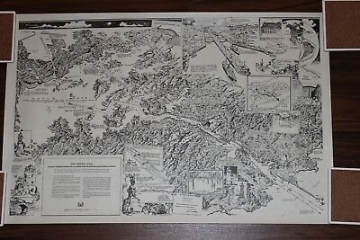 Panama Canal Pictorial Map Print by Charles H Owens Los Angeles Times