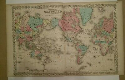 Antique Map 1856  The World   Colton's Maps  interesting map! exploration routes