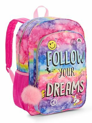 "Follow Your Dreams Backpack 16"" School Book Bag Tote Full Size NWT"