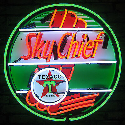 Texaco Sky Chief Neon Sign vintage style  Gasoline Gas and Oil pump Globe