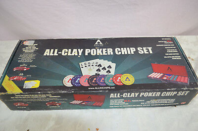 All-In 500 piece All Clay 10.5 g Poker Chip Set With Carrying Case NEW