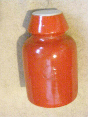 Bright red Bullers porcelain insulator, Made in England