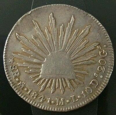 Mexico 1841 8 Reales MO ML Silver Mexican Coin VF Details