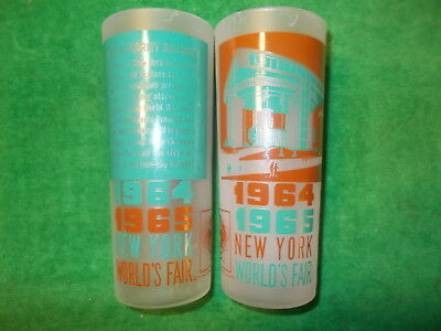 NEW YORK WORLD'S FAIR 1964 1965 PAIR of GLASSES of PORT AUTHORITY BUILDING