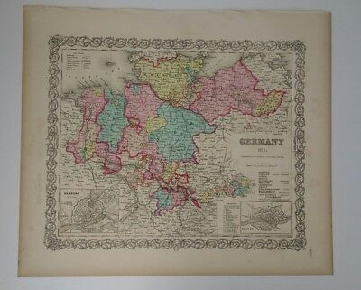 Antique Map Germany 1856 Colton's Maps two insets Hamburg Bremen  railroads