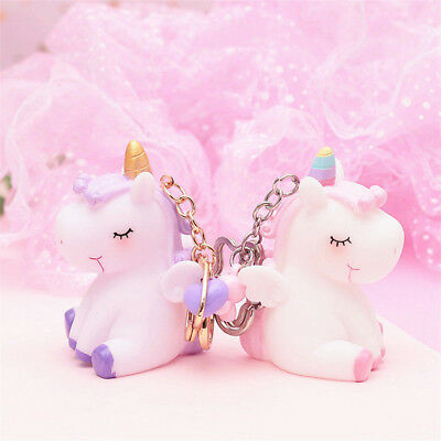 Kawaii Unicorn Keychain Keyring Handbag Key Ring Fluffy PomPom Bag Charm Pendant
