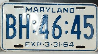 1964 Maryland License Plate