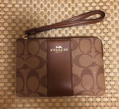 NEW -Authentic Coach Wristlet - Tan/Khaki/Brown - PVC- w/o tags