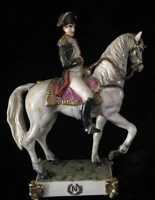 Vintage Napoleon Horse Porcelain Figurine Italy Signed Hand Painted Detailed