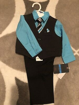 Dockers Baby Boy 6 9 Months Suit Set 4 Piece Pants Vest Shirt Tie Black NEW