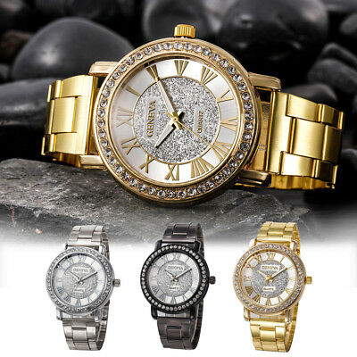 Fashion Luxury Women Men Simple Stainless Steel Roman Number Analog Quartz Watch
