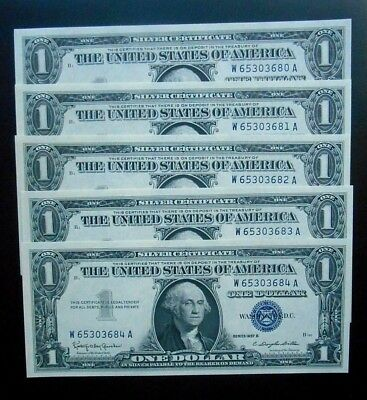 1957 B $1 Silver Certificates Fr.#1621  5 of 11 Consecutive Offered Tonight  GEM