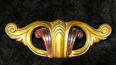 Art Deco Vintage ornate Drawer cabinet pull with amber insert 10 Available