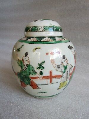 ANTIQUE 18th CENTURY CHINESE WUCAI PORCELAIN LIDDED GINGER JAR