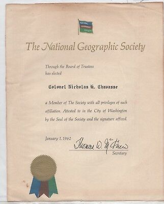 National Geographic Society Certificate, Issued to Colonel Nicholas Chavas (4849