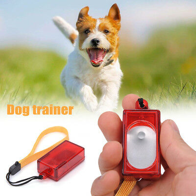 Pet Dog Puppy Click Clicker Training Obedience Trainer Aid Wrist Strap Supplies