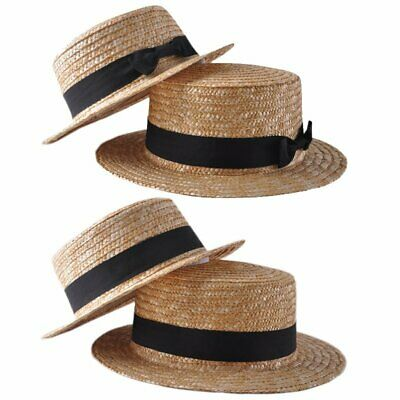 Fashion Women Girl Lady Straw Boater Sun Hat Round Flat Brim Summer Cap VU