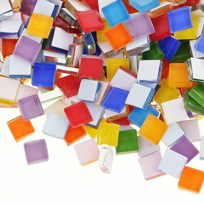 100Pieces Mixed Assorted Color Square Glass Mosaic Tiles For DIY Crafts Art Set