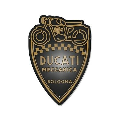 DUCATI SHIELD Meccanica Reklame Blechschild Metallschild Schild Metal Sign NEU