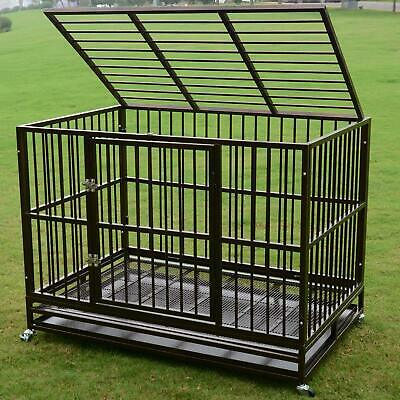 "Dog Crate 37""/42""/48"" Heavy Duty Cage Pet Kennel Playpen Exercise w/ Metal Tray"