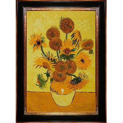 overstockArt Vase with Fifteen Sunflowers Oil Painting with Opulent Frame by