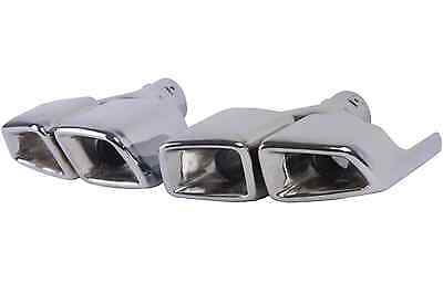 W221 S Class Dual Quad Square Stainless Steel Exhaust Tips Muffler Tail Pipes