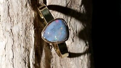 Handmade solid 9k gold Coober Pedy opal multi colour size U / 10