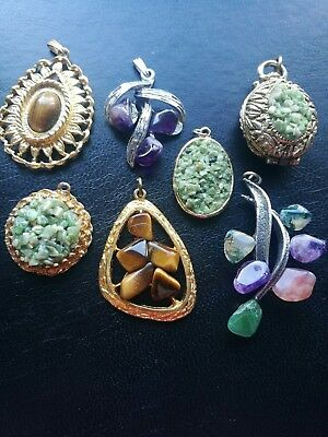 Job Lot Of Vintage Gemstone Pendants