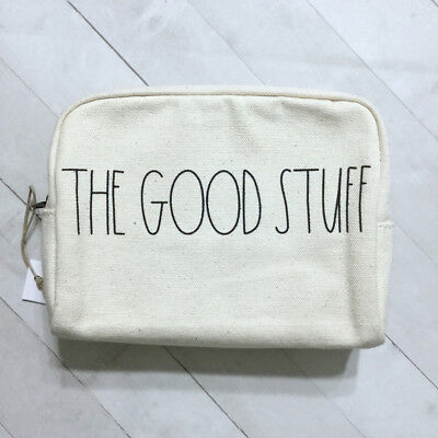 Rae Dunn Cosmetic Bag Canvas Zip Pouch THE GOOD STUFF Travel Makeup