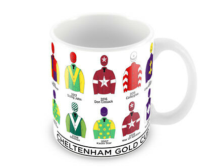 Horse Racing Cheltenham Gold Cup Winners 00-18 Racing Colours Mug National Hunt